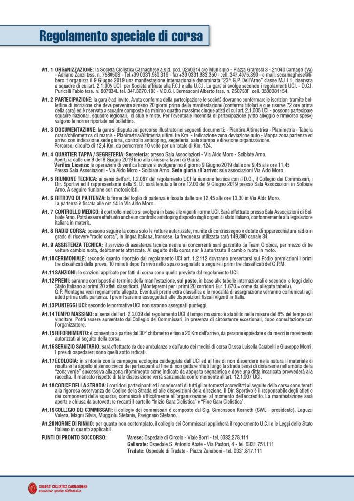 S.C. Carnaghese - Regolamento 2019